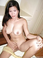 Asian amateur wife shows her pussy